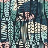 Племенная безшовная картина с абстрактными листьями Текстура притяжки руки бесплатная иллюстрация