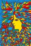Племенной портрет женщины с волосами - психоделическим художественным произведением сказово иллюстрация вектора