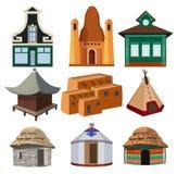 Племенные небольшие дома различных национальностей изолированные на белой предпосылке Стоковое Изображение RF