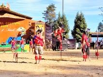 Племенные художники в фестивале птицы-носорог, Kohima стоковые фото