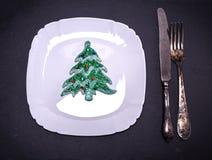 Плита белого квадрата с украшениями рождества Стоковые Фотографии RF