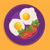 плита вектора с яичницами Стоковые Изображения