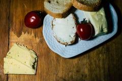Плита еды и мяса стоковая фотография rf