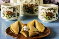 Плита китайских печений с предсказанием Стоковые Фото