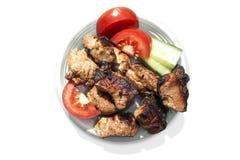 плита мяса зажарила в духовке овощи стоковое изображение