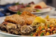 Плита мяса смешивания с французскими фраями Стоковые Фотографии RF