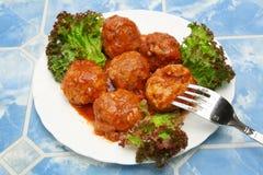 плита мяса шариков Стоковая Фотография