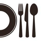 Плита, нож, вилка и ложка бесплатная иллюстрация