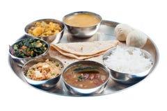 плита обеда индийская традиционная стоковое фото