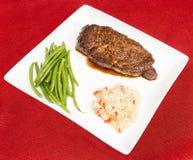 Плита обеда Poivre au стейка Стоковые Фото