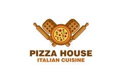 Плита пиццы деревянная, логотип вращающей оси конструирует воодушевленность, иллюстрацию вектора бесплатная иллюстрация