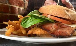 Плита сандвича блю кордона для обеда Стоковое Изображение RF