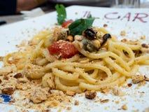 Плита спагетти от Средиземного моря стоковая фотография