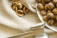 Плита с вкусными грецкими орехами и молотком на белой предпосылке стоковые фотографии rf