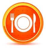 Плита с кнопкой значка вилки и ножа естественной оранжевой круглой иллюстрация вектора