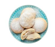 Плита с печеньями на исламские праздники изолированными на белизне eid mubarak стоковое изображение