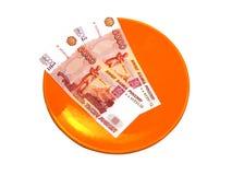 Плита с русскими деньгами Стоковые Фото
