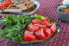 Плита с салатом от томатов, фенхелем огурцов отрезала в большие куски на плите овощи шнура еды cauliflowers морковей фасолей есте Стоковое Изображение RF
