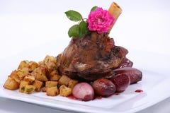 Плита точной обедая еды Стоковые Изображения