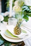 Плита украшенная с цветом ананаса и оформления, зеленых и белых Стоковые Изображения RF