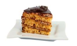 плита части торта изолированная шоколадом Стоковая Фотография