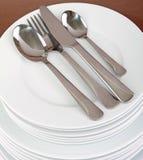 плита cutlery стоковая фотография