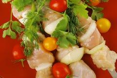 плита kebabs цыпленка свежая Стоковые Изображения RF