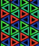 Плитка картины конспекта безшовная темная от пестротканых красных голубых зеленых треугольников на черной предпосылке Фон орнамен иллюстрация штока