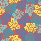 Плитка картины красной желтой голубой руки гибискуса вычерченная иллюстрация штока