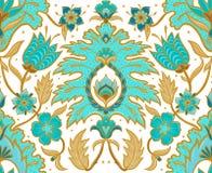 Плитка Boho безшовная флористическая - бирюза и свет мустарда иллюстрация вектора