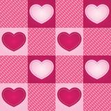 плитка checkered сердца безшовная Стоковая Фотография RF