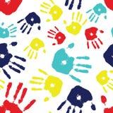плитка handprint аутизма безшовная Стоковые Изображения