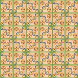 Плитки руки вычерченные оранжевые с раскосной проблескивая картиной и зелеными нашивками иллюстрация штока