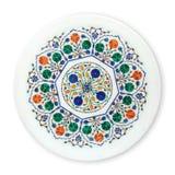 Плиты мраморной инкрустации декоративные, исламская плита с картиной мандалы, осматривают сверху изолированный на белой предпосыл стоковое фото rf