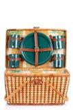 плиты пикника зеленого цвета корзины открытые Стоковое Изображение
