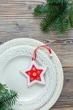 Плиты фарфора с оформлением рождества Стоковые Фото