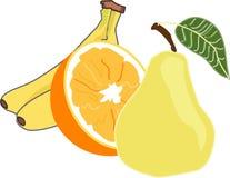 Плодоовощи 2 банана, половина апельсина, груша иллюстрация штока