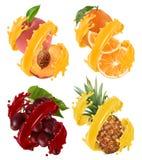 Плодоовощи и ягоды в выплеске сока Апельсин, ананас, виноградины, персик вектор 3d иллюстрация вектора