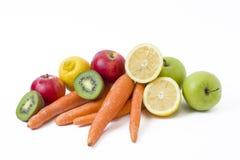 Плодоовощи на белой предпосылке Лимон с яблоками и киви на белой предпосылке Киви с лимоном на белой предпосылке Стоковое Фото