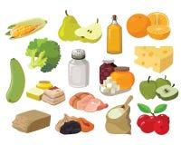Плодоовощи, овощи, сала, мясо, хлопья, молочные продучты иллюстрация штока