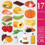 Плодоовощи, овощи, сала, мясо, хлопья, молочные продучты иллюстрация вектора