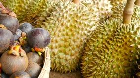 Плодоовощи смешанного сезона тропические сладостные сочные, местный рынок Таиланда Большие дуриан и мангустан Monthong акции видеоматериалы