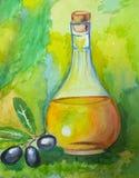 Плодоовощ и масло картины акварели прованские Стоковое фото RF