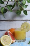 Плодоовощ и сок на таблице Стоковые Фото