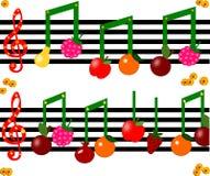 Плодоовощ как примечания на музыкальной диаграмме Стоковое Изображение