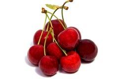 Плодоовощ красного цвета вишни на белой изолированной предпосылке Стоковые Фото