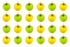 Плодоовощ на белой предпосылке, striped плодоовощ яблока желтого зеленого цвета предпосылки весь цветков сочный Стоковые Изображения