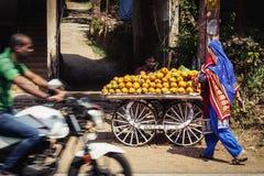 Плодоовощ приобретения женщины в индийском городе Стоковые Изображения RF