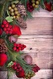 Плодоовощ рождества декоративный на древесине стоковое изображение rf