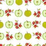 Плоды и ягоды Безшовная картина яблок и ягод Пиксел Вышивка r иллюстрация вектора